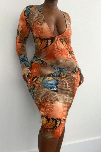 back_Celeste Kuvan Butterfly Print Bodycon Dress