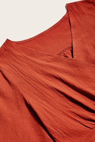 back_Short Sleeve Regular Sleeve Burnt Orange Blouses