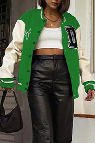 back_Preppy Baseball Collar Color Block Pocket Green And White Outerwear