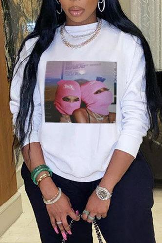 front_Crew Neck Graphic  Pullover White Sweatshirts & Hoodies
