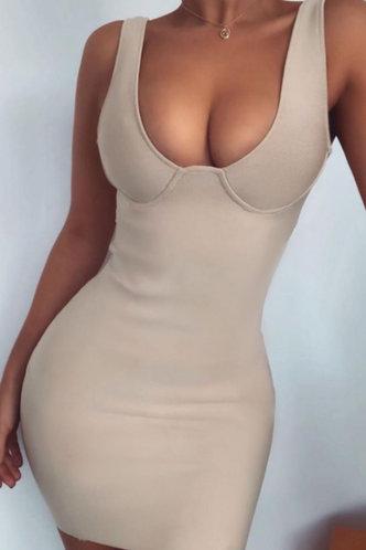 front_Arabella Elsa Light Khaki Bodycon Dress