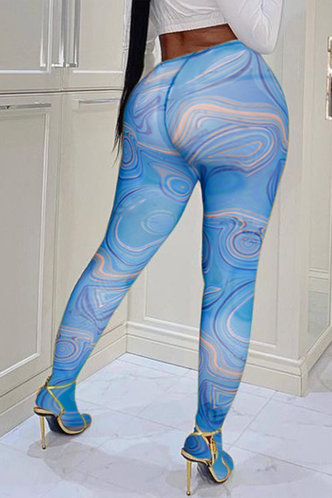 front_High Waist All over print Blue Wave Print Leggings