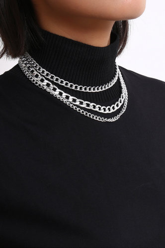 front_Laurel Eileen Silver Layered Chain Necklace