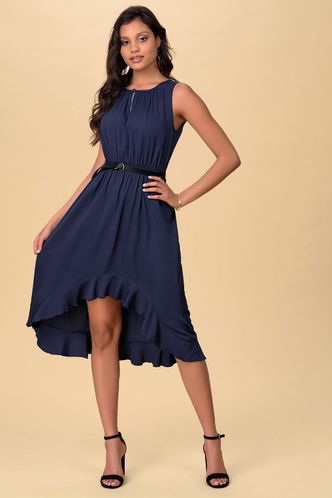 front_Whispers Dark Navy Midi Dress