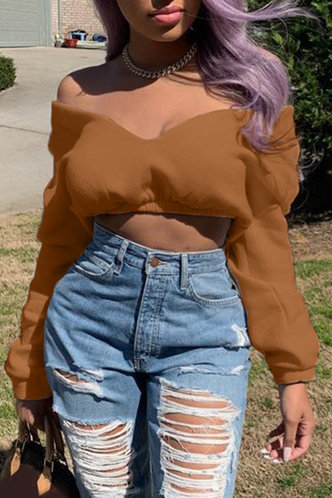 front_Sexy Low Cut Solid Shirred Brown Sweatshirts & Hoodies