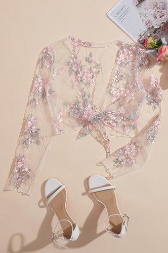 back_Torrie Elsa Floral Print Tie Front Blouse