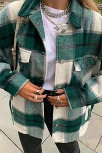 front_Casual Preppy Plaid Green And Beige Outerwear