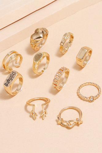 back_Jenifer Elsa Gold Rhinestone Charm Ring 10pcs
