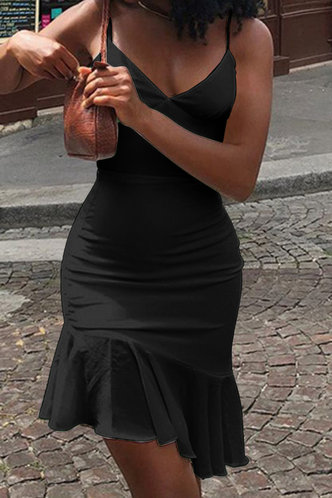 back_Buena Ella Black Flounce Hem Slip Dress