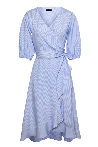front_Sweetness Baby Blue Striped Ruffle Dress
