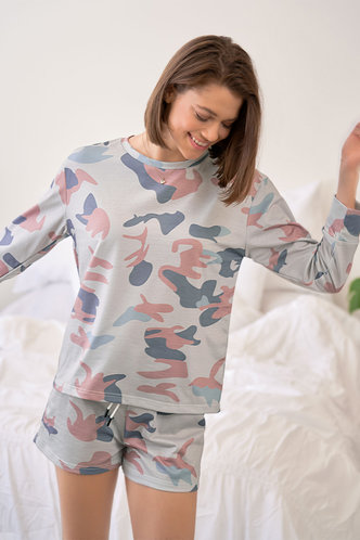 back_Up For Anything Multicolor Knot Front PJ Set