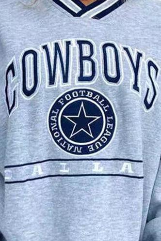 back_V-Neck Letter  Pullover Light Grey Sweatshirts & Hoodies