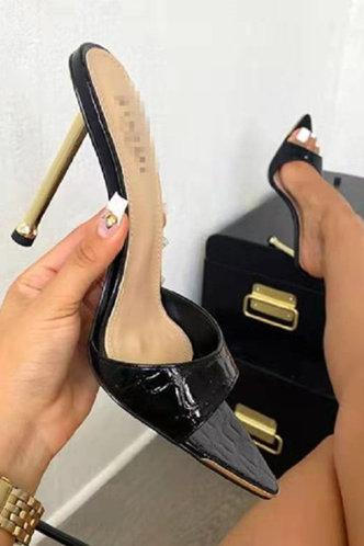 front_Isis Elvira Black Heeled Sandals