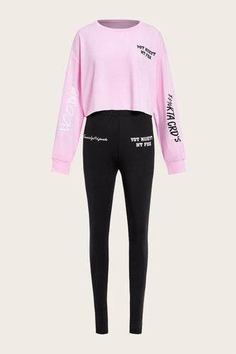 back_Letter Print Pullover Black And Pink Pants Sets