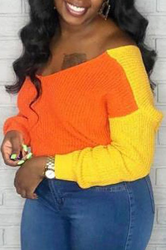 front_Dropped Shoulder Colorblock Sweaters