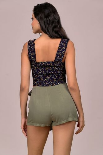 back_Sweetest Date Dark Navy Floral Print Top