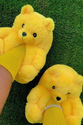 back_Plain Flat Yellow Slippers