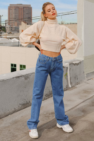 front_Check It Out Blue Baggy Jeans
