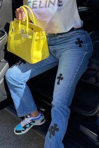 front_Mid Waist Geometric Pocket Straight Leg Wash Blue Women Jeans