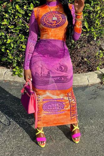 back_Coral Kradan Dollar Print Maxi Bodycon Dress
