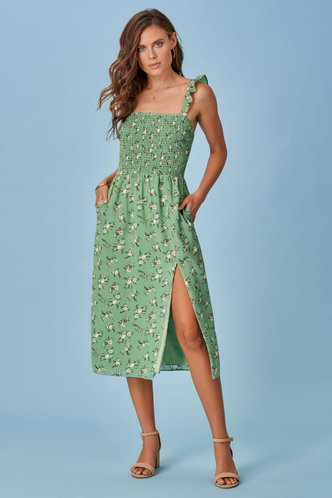 front_Lila Light Green Floral Print MidiDress