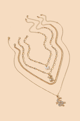 back_Megan Elsie Gold Butterfly Pendant Charm Layered Necklace