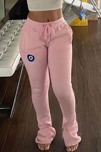 front_Mid Waist Pink Sweatpants