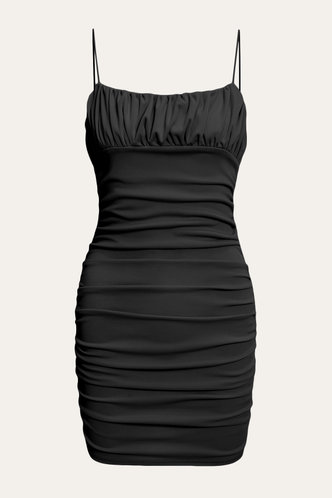 front_Dagmar Elaine Black Bodycon Ruched Dress
