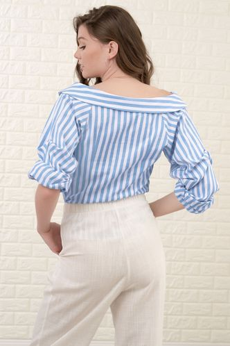 back_My Feeling White And Blue Striped Blouse