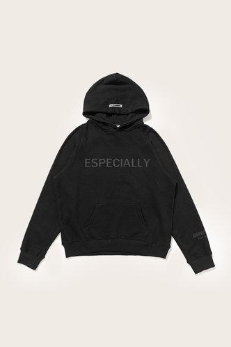 back_Letter Print Drawstring Pullover Black Sweatshirt Set