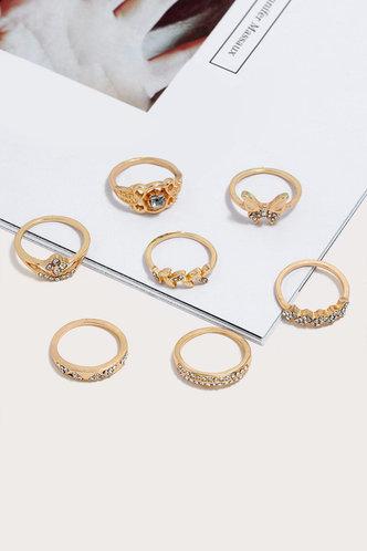 back_Ena Elma Gold Rhinestone Charm Ring 7pcs