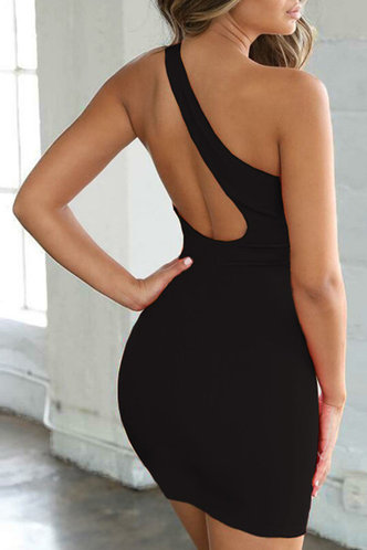 back_Valeria Eartha Black One Shoulder Dress