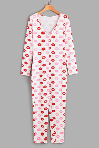 front_Beverly Eileen White And Red  Sleepwear
