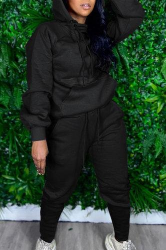 back_Pocket Drawstring Pullover Black Sweatshirt Sets