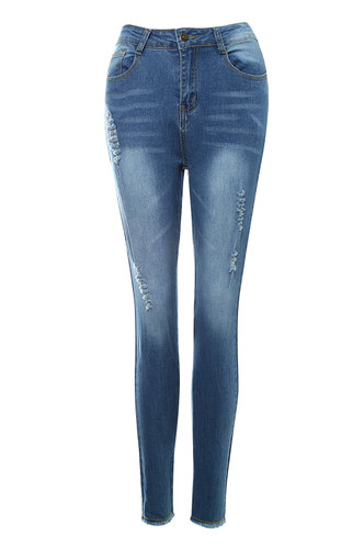 front_La Vie En Rose Blue Ripped Jeggings