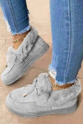 front_Plain Flat Round Toe Grey Boots