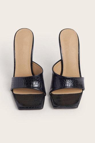 back_Hazel Oktoped Black Heeled Mule Sandals