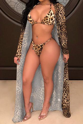 front_Halter Leopard Print Backless Leopard Print Bikini Sets