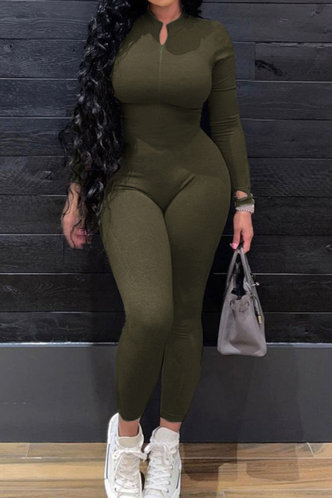 front_Casual Plain Hooded Collar Army Green Jumpsuits
