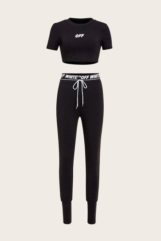 back_Elastic Band Pullover Black Pants Sets