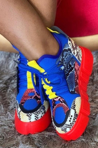 back_Snakeskin Print Lace Up Low Heel Round Toe Multicolor Sneakers