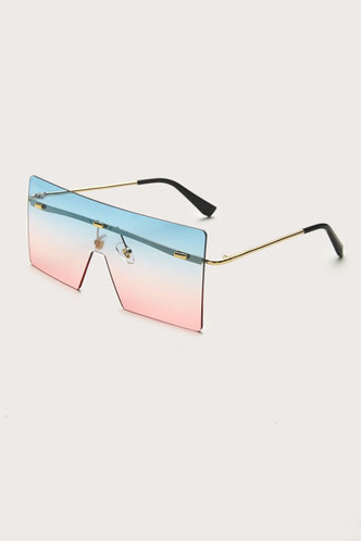 back_Gertie Eleanore Blue And Pink Square Frame Sunglasses