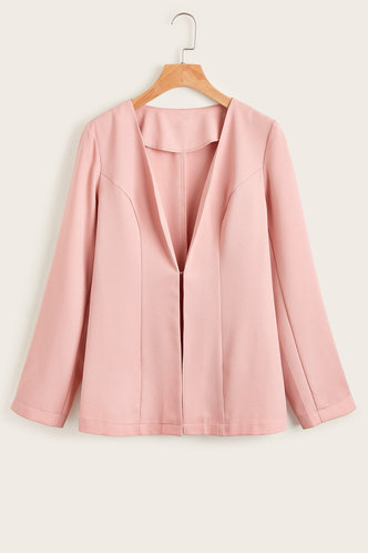 front_Bossy And Glossy Pink Fitted Blazer