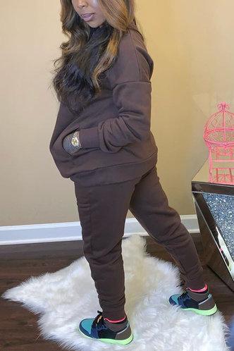 back_Plain Pocket Brown Pants Sets