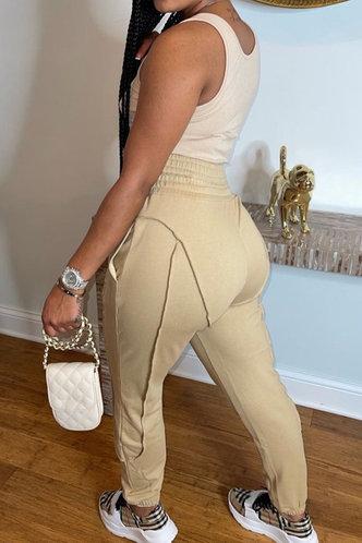 back_Mid Waist Plain Khaki Sweatpants