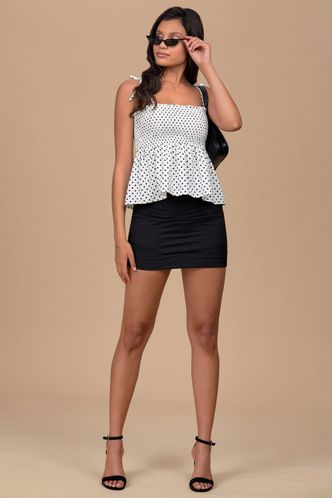 front_Peren Black And White Polka Dot Short Sleeve Top