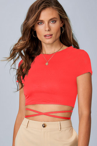front_All Tied Up {Color} Short Sleeve Top