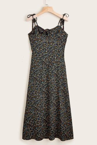 back_Vargas Black Floral Print Dress