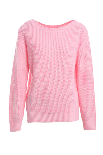 front_Happiness Forever Pink Ribbed Knit Sweater