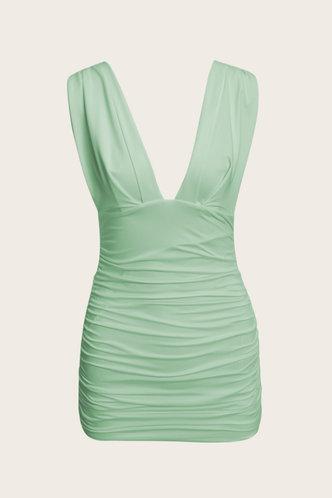 back_Dagmar Eileen Light Green Ruched Dress